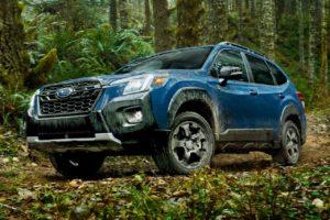 US-spec 2022 Subaru Forester front three quarters