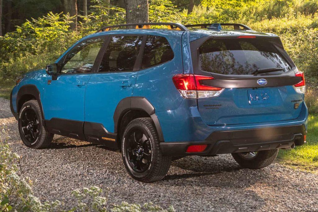 US-spec 2022 Subaru Forester rear three quarters