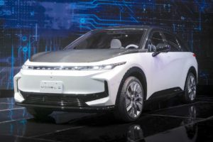 Foxtron Model C electric SUV front three quarters
