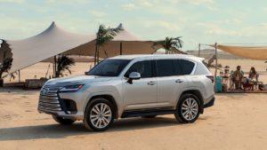 2022 Lexus LX front three quarters desert